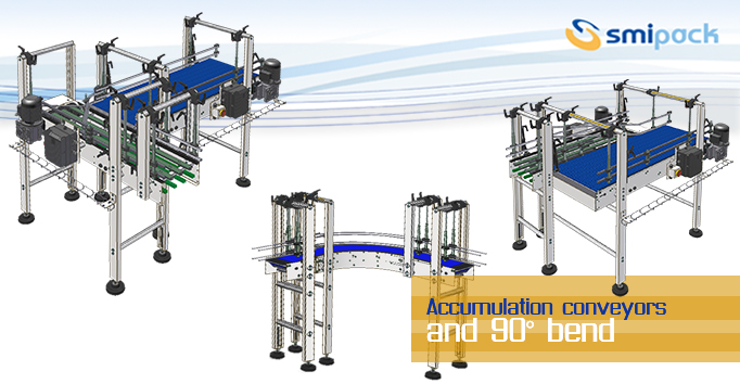 Accumulation conveyors and 90° bend